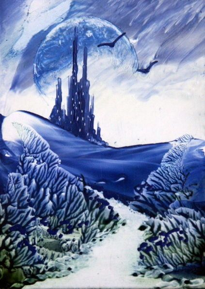 ORIGINAL ACEO encaustic art (bees wax) FANTASY LANDSCAPE painting BLUE CASTLE