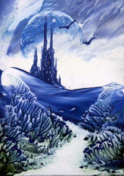ORIGINAL ACEO encaustic art (bees  wax) FANTASY LANDSCAPE painting BLUE CASTLE