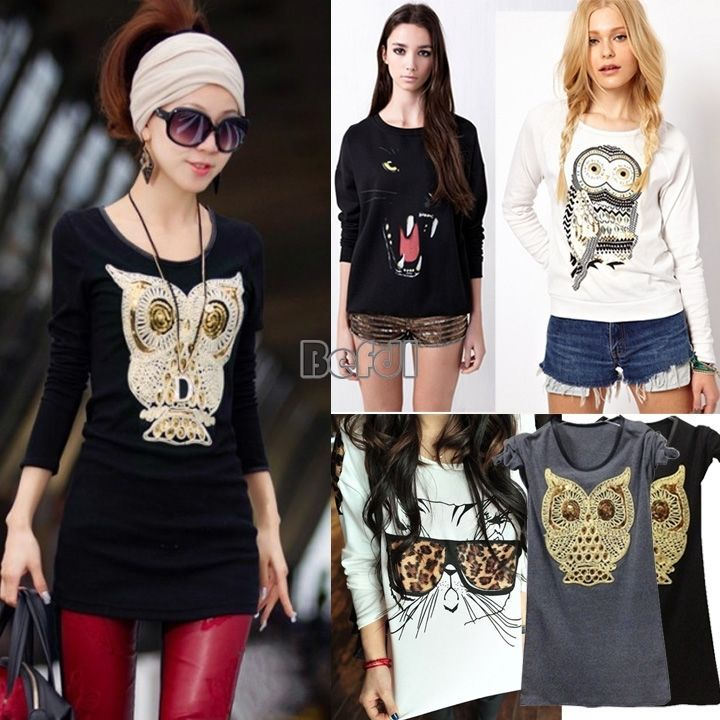 Women casual round neck Basic Tee OWL sequin Long Sleeve T-Shirt Tops Leopard #Unbranded