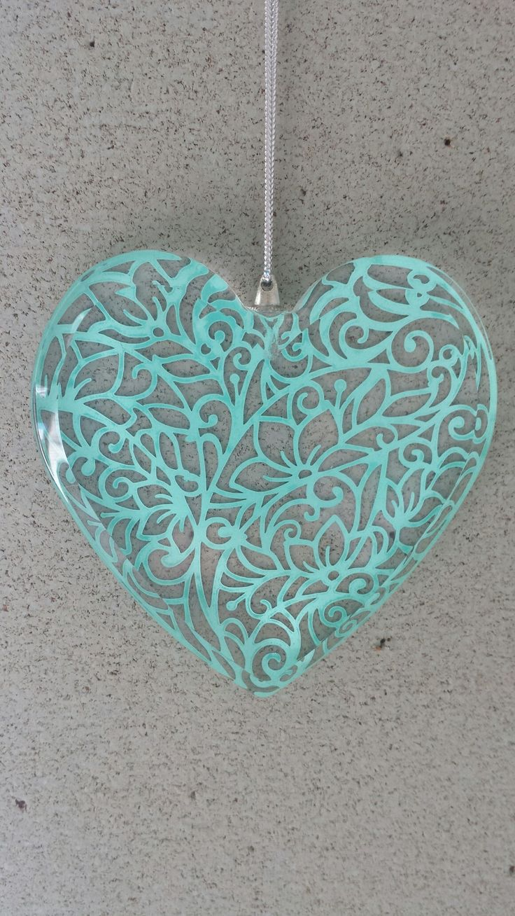 Vinyl on glass heart made by me