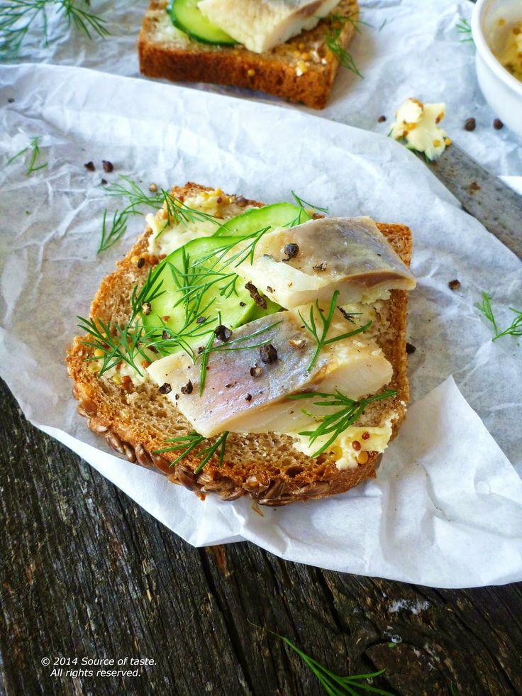 Herring Cucumber  Mustard Butter Open  Sandwich