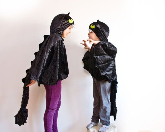 Toothless the Night Fury Costume, Black Dragon Children Costume, Party Costume or Halloween Kid Costume Wings, How to train your dragon