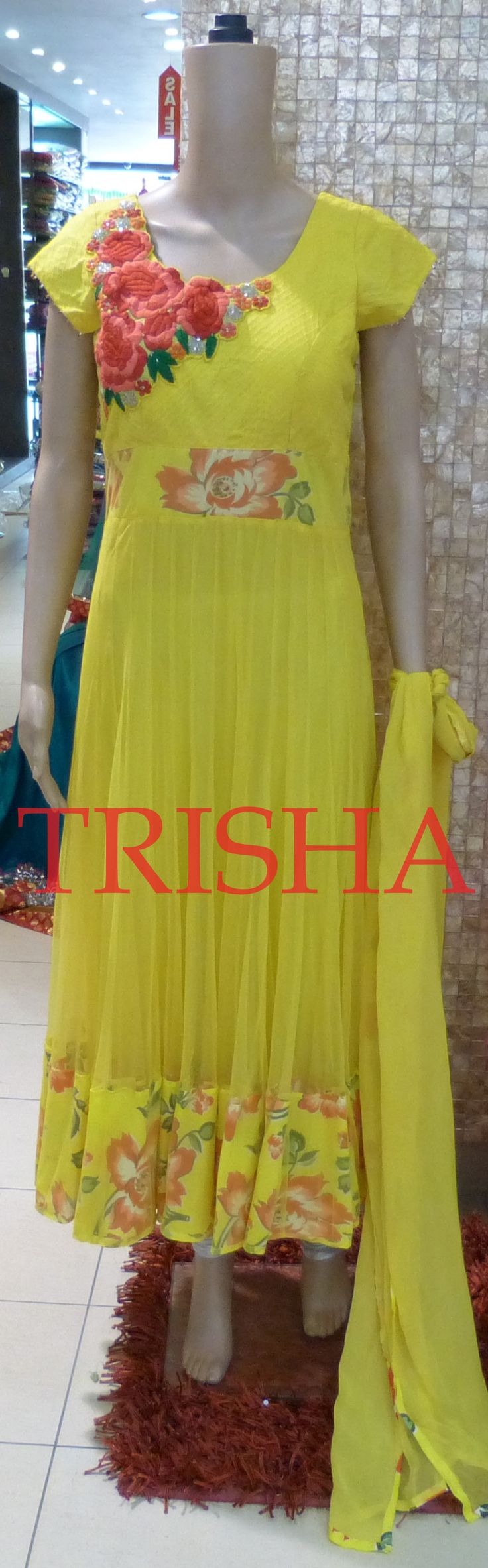 Yellow Net Kali Suit With Thread Embroidery Yoke