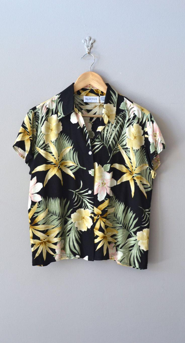 vintage hawaiian floral blouse
