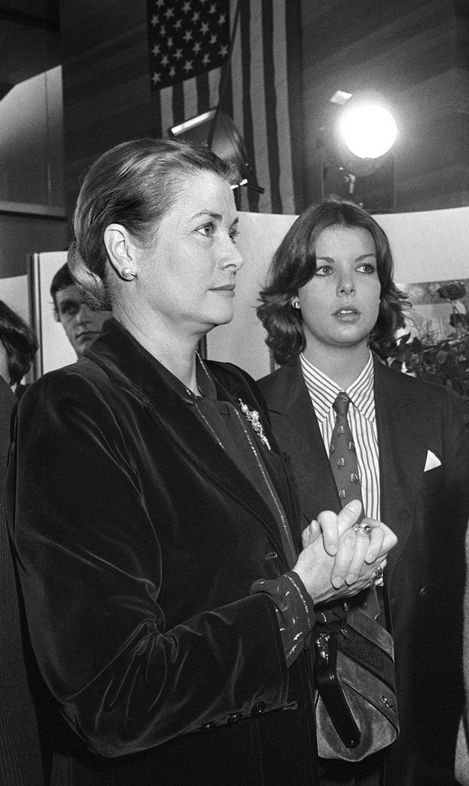Princess Caroline and her mother Princess Grace of Monaco at Radio France station with expatriates, for night of American presidential election.November 5,1976.