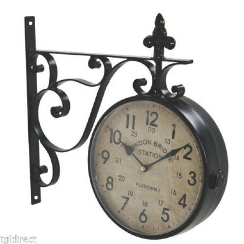 hanging bracket london bridge station clock double sided home decor