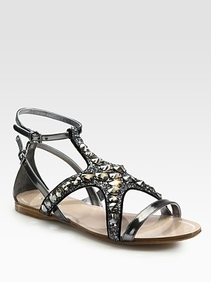 Starfish Crystal and Glitter Metallic Leather Sandals by Miu Miu: Starfish Crystals, Beaches Sandals, Leather Sandals, Miu Miu, Starfish Sandals, Miu Starfish, Metallic Leather, Glitter Metals, Metals Leather