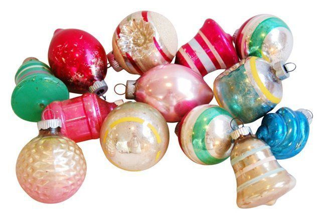 I have some of these too….. Midcentury Christmas Ornaments, S/13