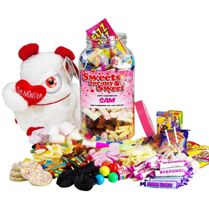 Large 'Sweets for my Sweet' Retro Sweet Jar with Love Monster £37.49 - The Wedding Gift Company