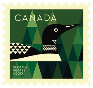 'Loon' Dale Nigel Goble stamp design for Canada Post.  Via Canadian Design Resource.