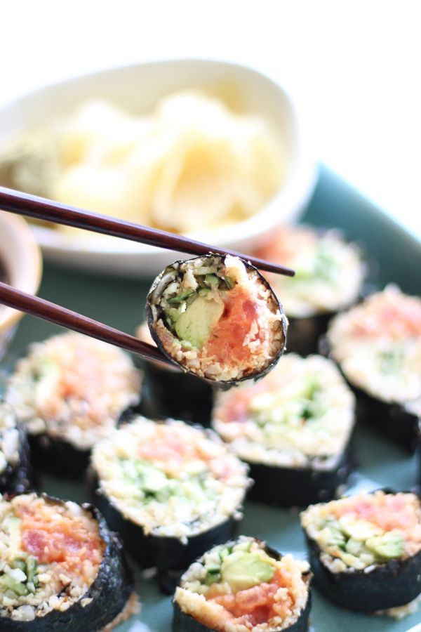 These Cauliflower Rice Spicy Tuna Rolls are the perfect Paleo alternative to regular sushi. You won't believe how much the cauliflower resembles actual rice!
