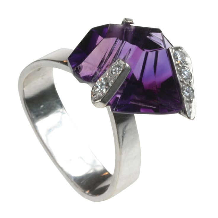 GRIMA Gold, Amethyst & Diamond Ring | From a unique collection of vintage cocktail rings at http://www.1stdibs.com/jewelry/rings/cocktail-rings/