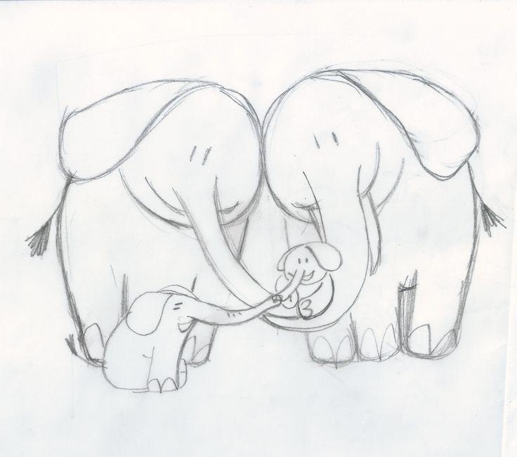 Schets voor geboortekaartje, olifantenfamilie, grote broer en babyzus. Drawing for birth announcement card. Big brother with baby sister.