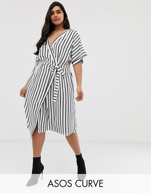7eb5c2eed1e DESIGN Curve wrap midi dress in stripe print in 2019