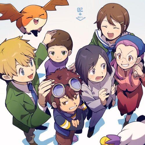 Digimon Crossover: T.K. (Takeru) Takaishi, Patamon, Kari Kamiya (Hikari Yagami) and Gatomon (Tailmon) from Digimon Adventure Tri with Cody (Iori) Hida, Davis (Daisuke) Motomiya, Ken Ichijouji and Yolei (Miyako) Inoue from Digimon Adventure 02