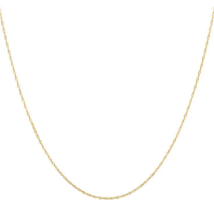"14ct Yellow Gold 40cm (16"") Singapore Twist Chain"