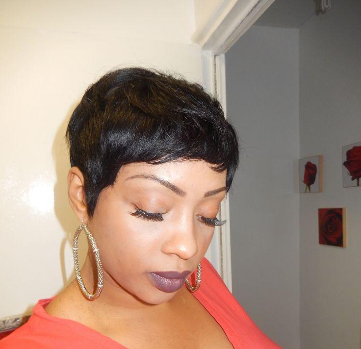 Pixie Short Wig Using 27 Piece Hair Black Hair