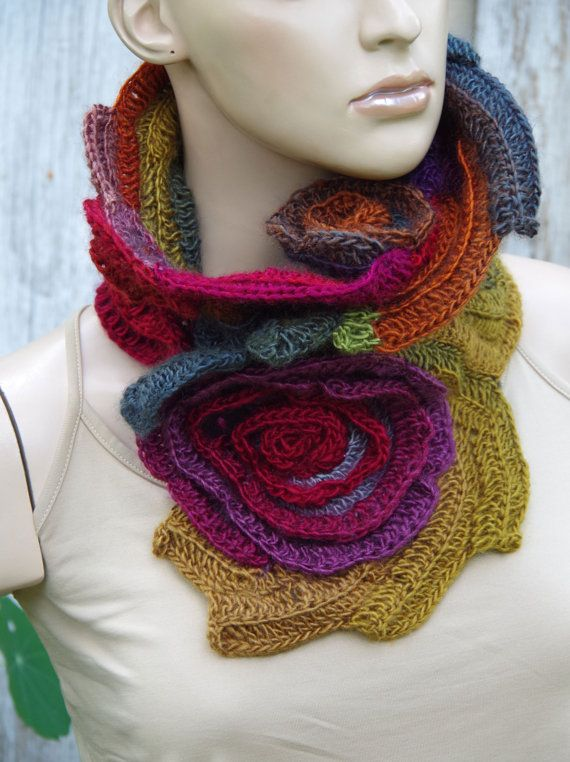 Crochet Scarf Roses Capelet Neck Warmer Freeform by Degra2