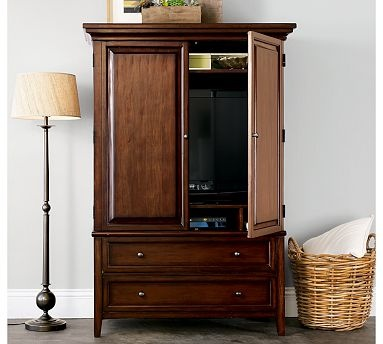 This is my master bedroom armoire hudson armoire from pottery barn interior design for Master bedroom set with armoire
