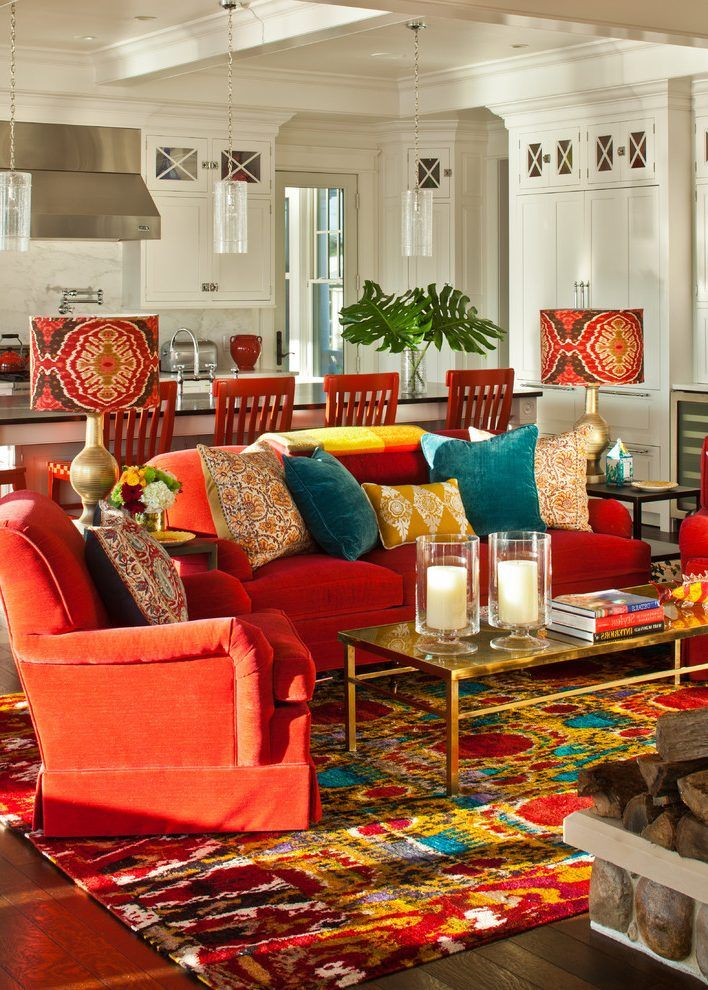 Bright colors family room eclectic with gold coffee table dark wood floor
