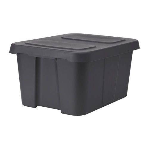 "IKEA - KLÄMTARE, Box with lid, indoor/outdoor, 22 ¾x17 ¾x11 ¾ "", , You can use this durable, stackable and waterproof box outdoors. The lid has a built-in locking function that helps protect your belongings from moisture and dirt.The lid is designed to drain away rain water and make stacked boxes stand sturdily.Perfect for big heavy items like tools and books.Proper handles make it easy to lift and carry even heavily packed boxes."