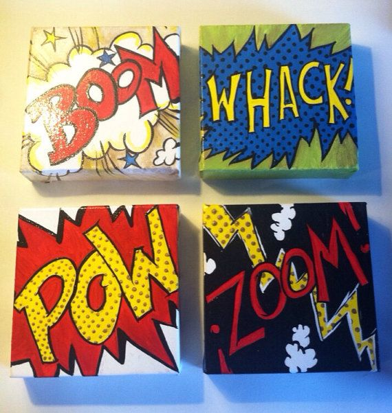 COMIC BOOK ACTION Paintings on Etsy, $45.00