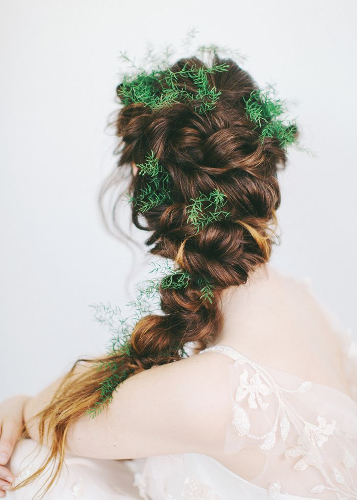 Forest nymph wedding hair