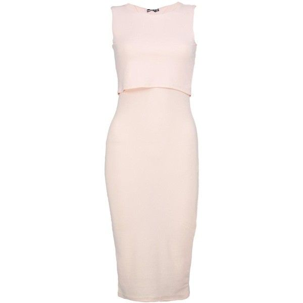 Boohoo Petite Claire Double Layer Midi Bodycon Dress   Boohoo ($14) ❤ liked on Polyvore featuring dresses, petite bodycon dresses, bodycon cocktail dress, layered dress, pink cocktail dress and bodycon dress