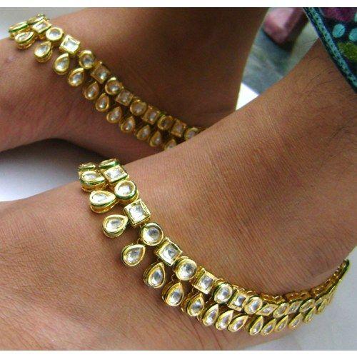 KUNDAN,POLKI AND MEENA ANKLETS SET | Anklets
