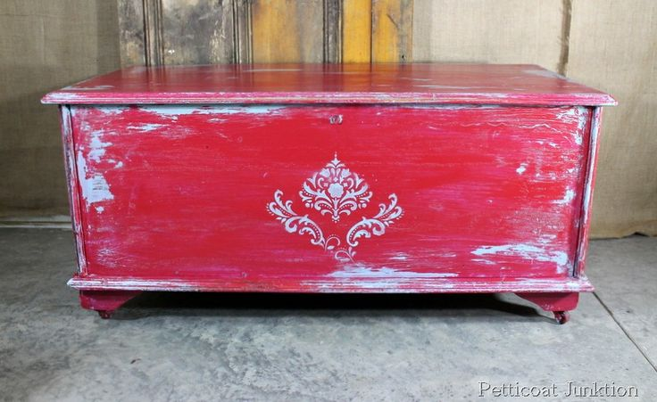 Painted, Stenciled, and Distressed Cedar Chest, Petticoat Junktion