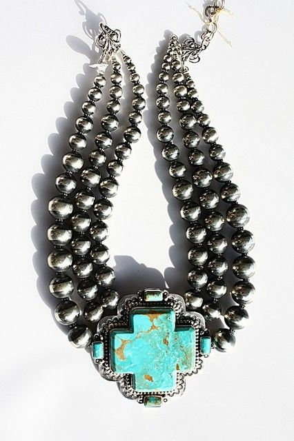 David Troutman Turquoise Cross and Navajo Pearl Necklace - cowgirl, western, turquoise, cross, pearls, sterling, western http://www.cowgirlkim.com/david-troutman-silver-creations-turquoise-navajo-pearl-necklace.html