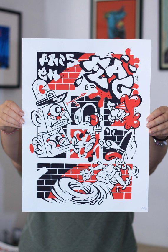 PRIS EN FLAG' x Nefrit  Affiche sérigraphie 1/2 par CapsuleFactory