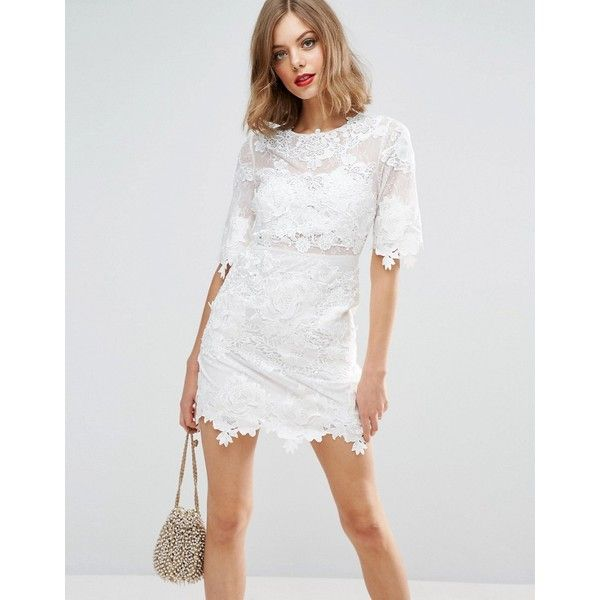 ASOS BRIDAL Lace Embroidered Mini Shift Dress (167 AUD) ❤ liked on Polyvore featuring dresses, white, lace party dresses, white prom dresses, white embroidered dresses, white lace dress and white bridal dresses