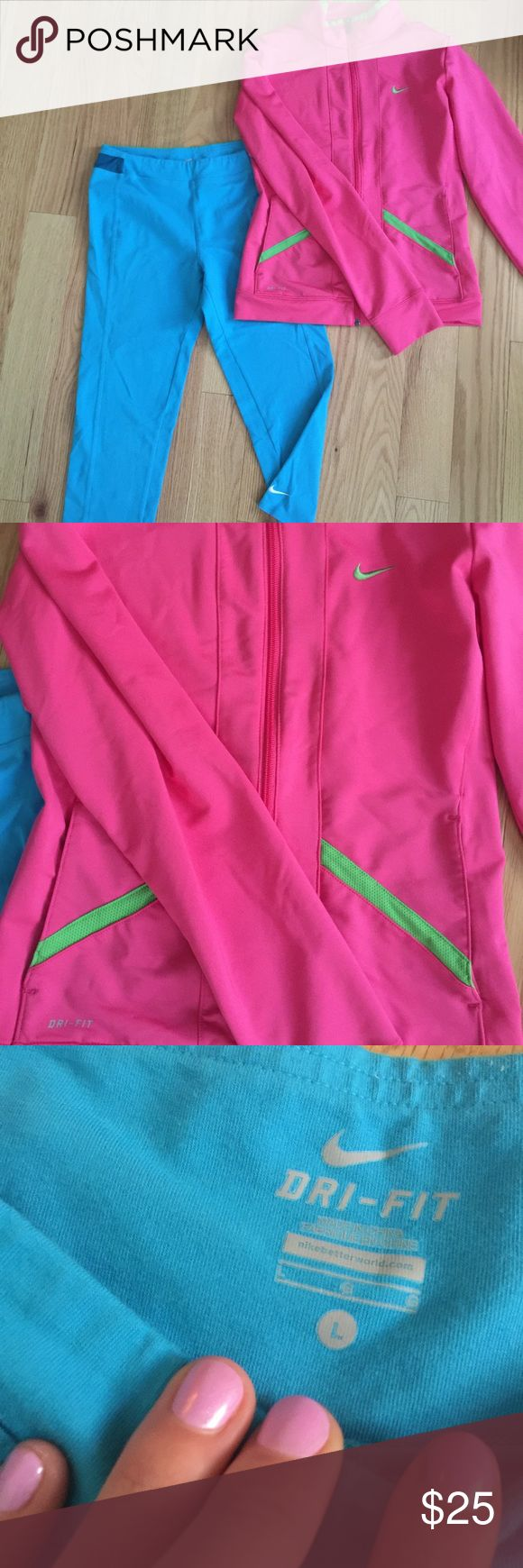 Nike bundle Size large kids Nike! Turquoise yoga leggings and pink/green zip up sweatshirt! EUC looks close to brand new! Please lmk if you have any questions! Fits women's size XS...bottoms fit me and I wear a women's xs or small and the top is too short on me and a bit snug in the shoulders but I usually wear a small or medium in tops. Nike Tops