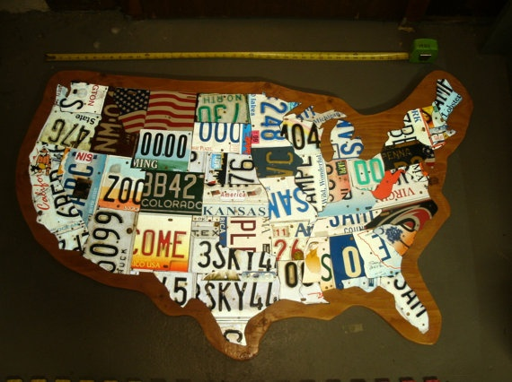 USA License Plate Map by seanmsands on Etsy, $250.00 - My husband made these