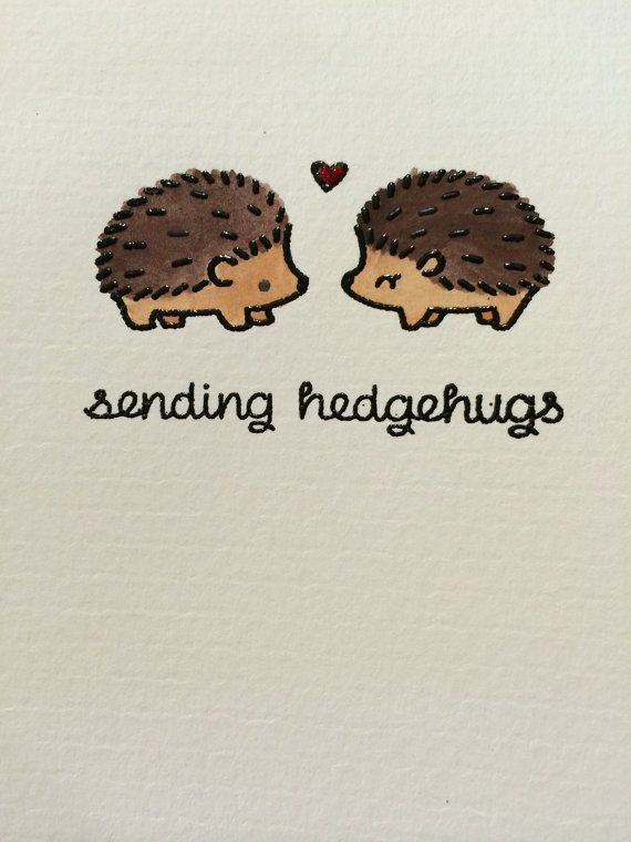 Set of 4 hand made note cards with envelopes 4 1/4 x 5 1/2 inches Designs: Black Embossed Hedgehogs on hand painted watercolor card stock