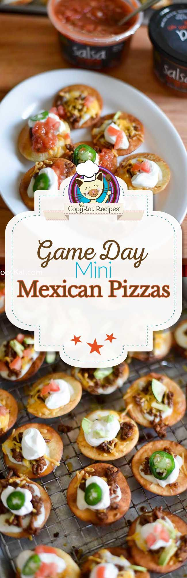 These Game Day Mini Mexican Pizzas are just the thing for your Big Game! Crispy mini Mexican pizzas topped your favorite ingredients. This is a recipe for your party!