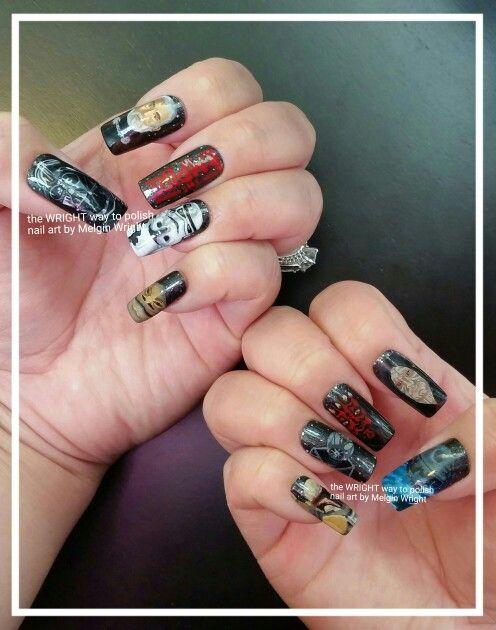 Star Wars/ The Empire  hand painted nail art by Melgin Wright!http://www.facebook.com/TheWrightWayToPolishNailArtByMelginWright