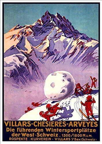 'Villars-Chesieres-Arveys - Switzerland' - A4 Glossy Art Print Taken From A Rare Vintage Travel Poster by Vintage Travel Posters http://www.amazon.co.uk/dp/B01BHQ8412/ref=cm_sw_r_pi_dp_PNgTwb1G34XB1