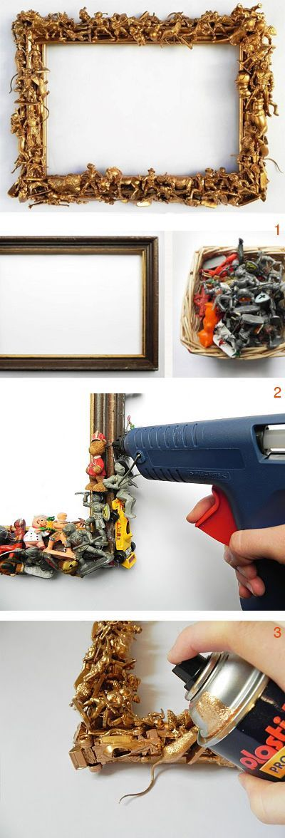 DIY: Bilderrahmen mit Spielfiguren und Goldspray verschönern, einfaches DIY // easy DIY tutorial for home decor: pimp up a frame with golden spray, upcycling via DaWanda.com