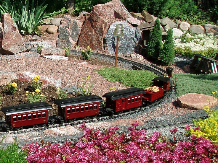 Outdoor model train layout landscaped with succulent plants! - 7 Best Creative Planting Ideas W/ Succulents Images On Pinterest