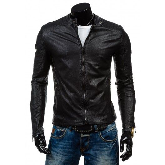 Moderná pánska koženková bunda čiernej farby - fashionday.eu