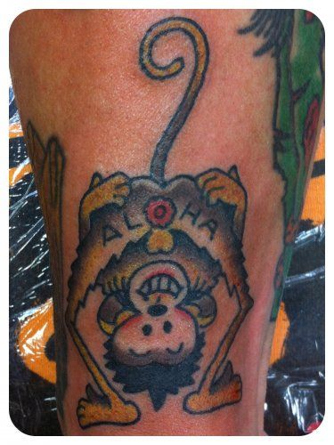 Sailor jerry aloha monkey tattoo by luke olczyk all star for All city tattoo
