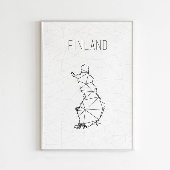 Finland Art Finland Poster Finland Map Finland Print Wall Art Helsinki Map Minimalist Art Mod Art Finland Custom Map Gift Finland Map Minimalist Art