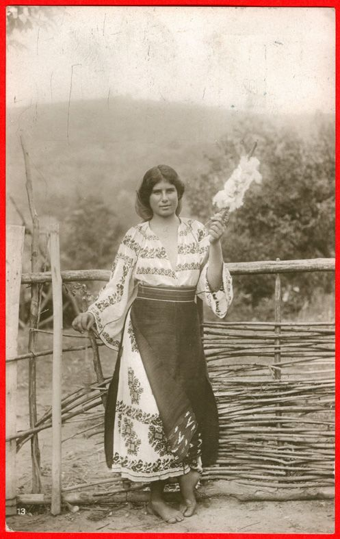 young romanian woman looking good with spindle in hand :P