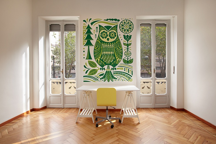 Folk wallpaper with owl by Fototapeta4u.pl