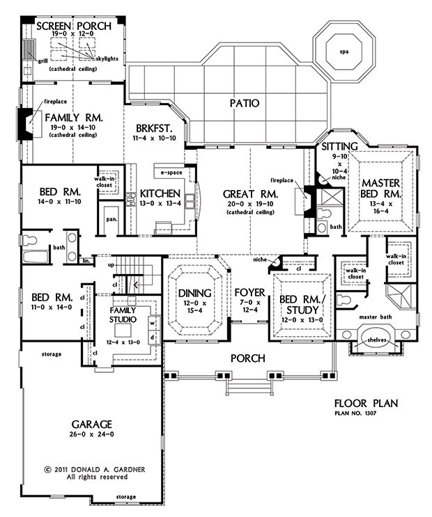 Check out this FAMILY STUDIO/Laundry/mud room... I don't care for the rest of it - but that is cool!!!   First Floor Plan of The Flagler - House Plan Number 1307
