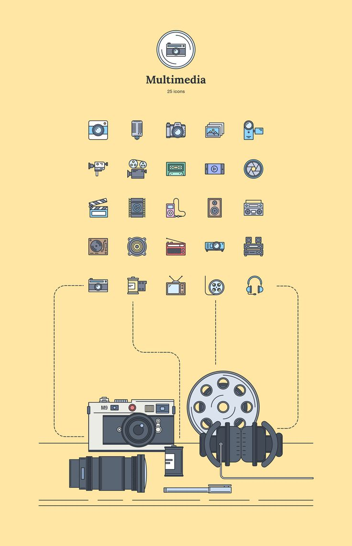 Multimedia - Landing Page Icons - Designmodo Market