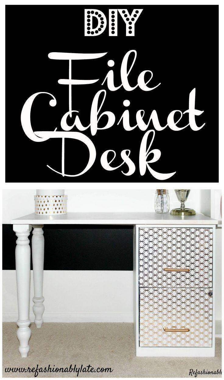 DIY File Cabinet Desk www.refashionablylate.com