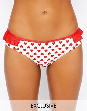 New Look Kelly Brook Exclusive to ASOS Textured Heart Bikini Bottom